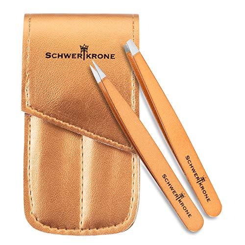 Schwertkrone Pinzetten Set 2-teilig gold - Zupfpinzette zur Haarentfernung - 100% rostfreier Edelstahl – für Damen und Herren mit praktischem Etui