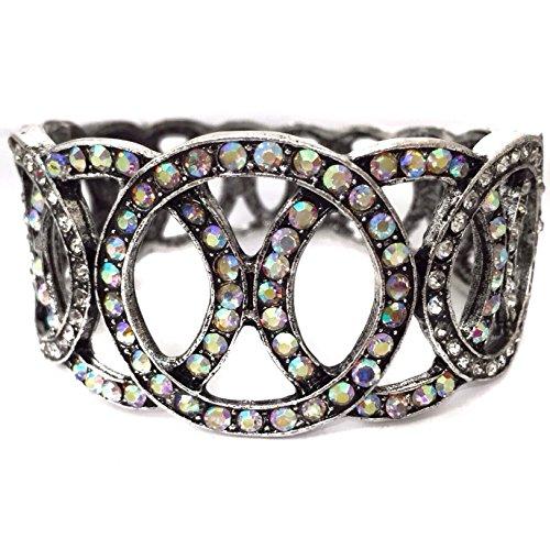 Gypsy Jewels AB Claro Cristal Rhinestone declaración de círculos Prom Pageant Bling con bisagras Pulsera