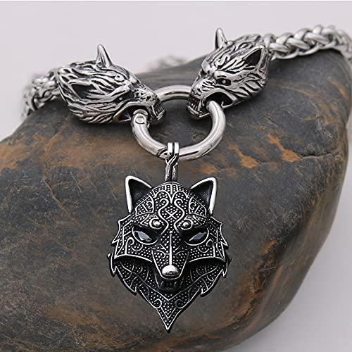 Collar con Colgante Fenrir Vikingo Acero Inoxidable para Hombre, Cadena Gruesa Cabeza Lobo Nórdico 6 mm con Cadena Serpiente de 3 mm, Amuleto de Animales Étnicos Celtas,Negro,70cm