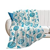 Alibiffy Throw Blanket for Couch/Bed Cozy Super Warm Soft Microfiber Fuzzy Flannel Blanket for Adults Kids Starfish Seashell Sandy Beach Theme50×60'