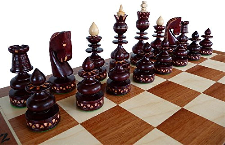 Master of Chess Luxus BIZANT 59cm   23in Intarsien aus Holz Schachspiel, Byzantium, handgefertigte Klassische Schachspiel mit Kirsche Schachfiguren