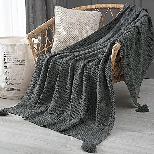Delmkin Strickdecke, Handgemachte Gestrickte Decke mit Quaste, Kuscheldecke Schaldecke für Wohnzimmer/Büro (Grau, 170 x 130cm)