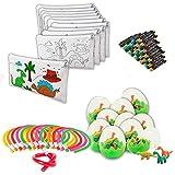 Regalo  infantil, 15 estuches coloreables  15 set de 4 ceras  15 huevos con gomas de borrar  15 lápices flexibles