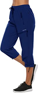 MOCOLY Women's Hiking Capris Pants Outdoor Lightweight Quick Dry Water Resistant UPF 50 Cargo Pants with Zipper Pockets