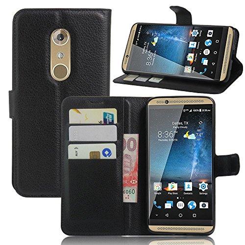 Ycloud Tasche für ZTE Axon 7 (5.5zoll) Hülle, PU Ledertasche Flip Cover Wallet Hülle Handyhülle mit Stand Function Credit Card Slots Bookstyle Purse Design schwarz