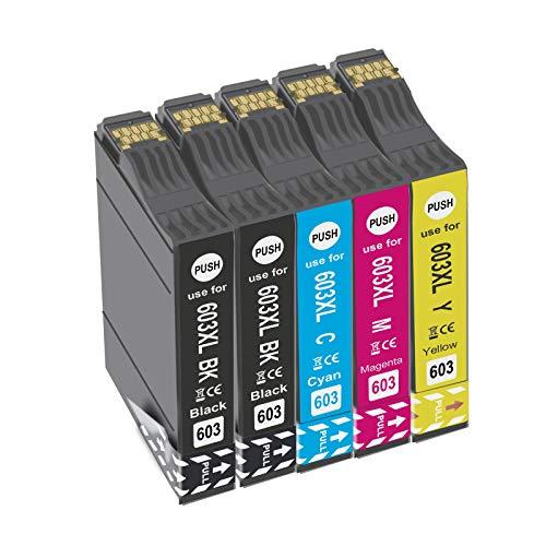 Teland 603 603XL Cartuchos de tinta para Expression Home XP-2100 XP-2105 XP-3100 XP-3105 XP-4100 XP-4105, Workforce WF-2810 WF-2830 WF-2835 WF-2850 (2BK/1C/1M/1Y)