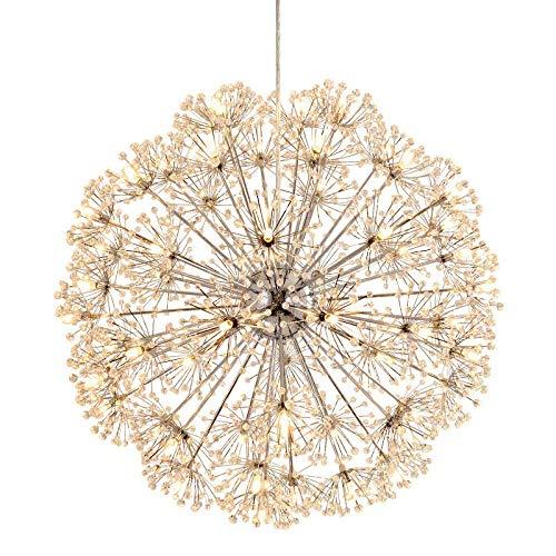 Home Equipment Lámpara de techo de araña de acero inoxidable estrellada de cristal moderno Phi; 30CM G4 LED Luz blanca 6000K Comedor Sala de estar Dormitorio Lámpara Lámpara de techo de diente de l