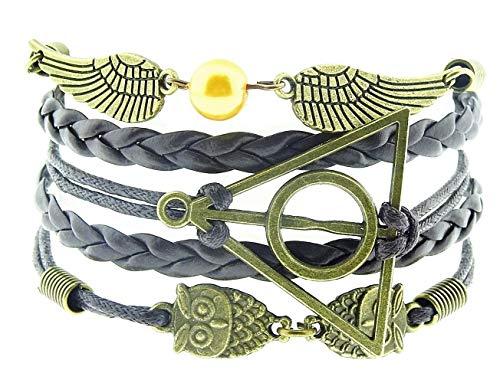 Legisdream - Pulsera con múltiples hilos marrones con dijes de búhos y alas de ángel, perla dorada y triángulo de bronce, ideal como regalo para cualquier ocasión