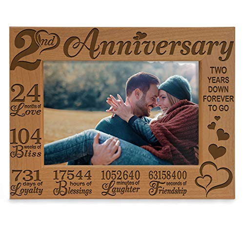 Kate Posh - Our 2nd Cotton Anniversary Engraved Picture Frame, 2 years together as Husband & Wife, Boyfriend and Girlfriend, 2 Years of Marriage, Happy second anniversary gifts for her, gifts for him, couple (5x7-Horizontal)