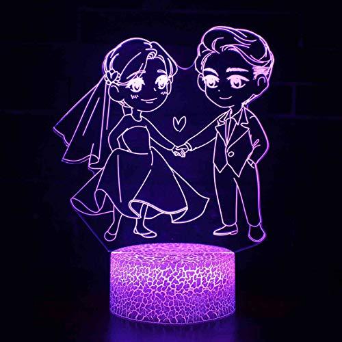 Watopi - Lámpara de noche acrílica 3D para el día de San Valentín, recargable por USB, lámpara de mesa de escritorio, brillante, decoración del hogar, para amantes, novios, madres