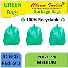 Clean India -3 Pack of Green Garbage Bags - 19X21 | 3 Packs of 30 Pcs - 90 Pcs | Green Medium Disposable Dustbin Bags for Wet Waste