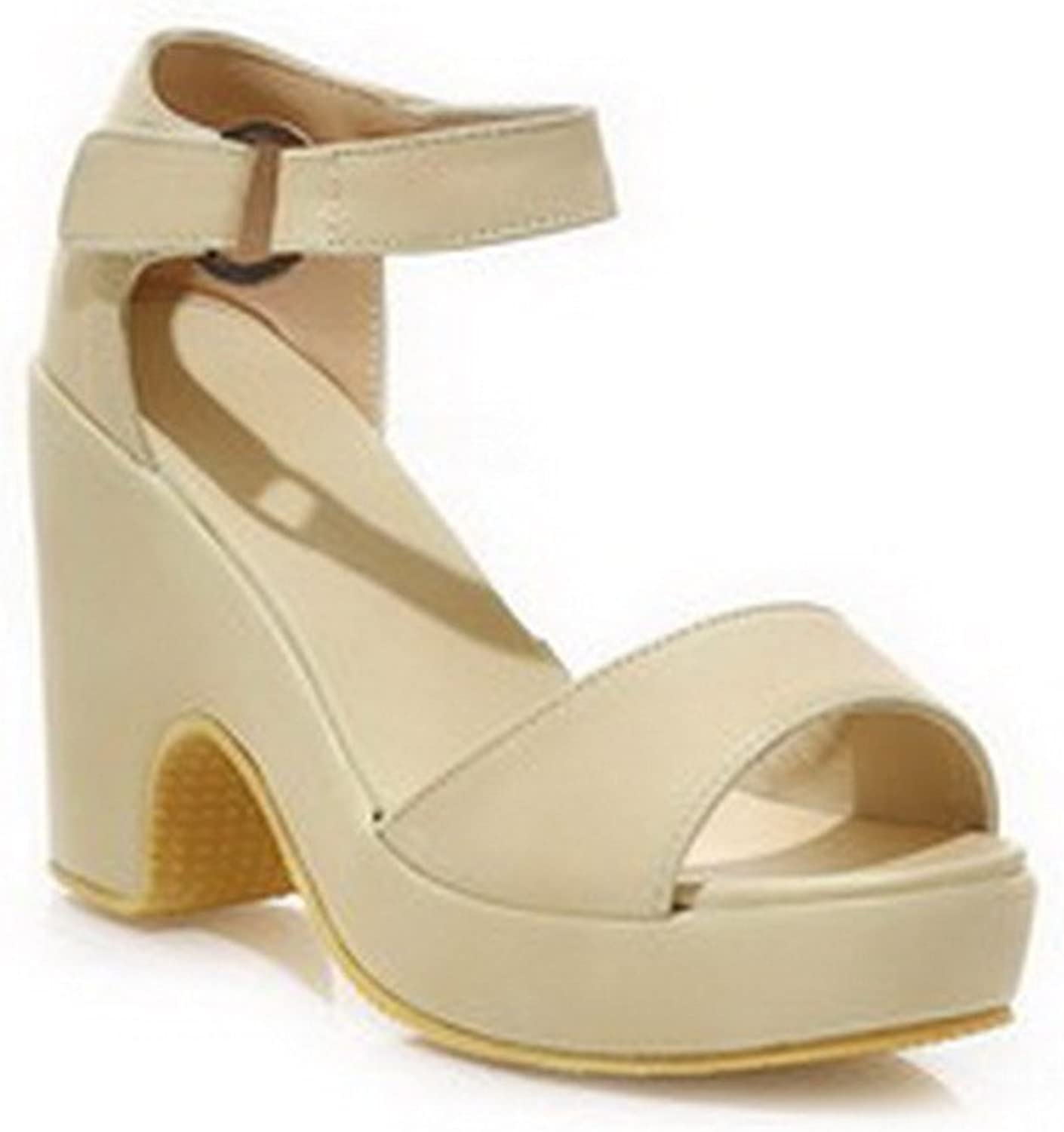 WeiPoot Women's Open Toe High Heel Soft Material Solid Sandals with Buckle, Beige, 7.5 B(M) US
