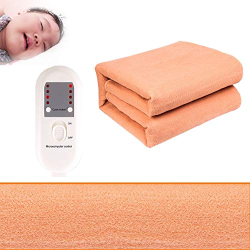 Verwarmingsdeken - oranje verwarmd bovendeken met 4 warmtestanden en automatische uitschakeling - zachte, knuffelige sprei voor de thuiskantoor bedsofa