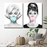 WTYBGDAN Moda Marilyn Monroe Audrey Hepburn Globo Póster e Impresiones Lienzo Cuadros de Pintura para Sala de Estar Decoración del hogar Arte de la Pared | 45x60cmx2Pcs / Sin Marco