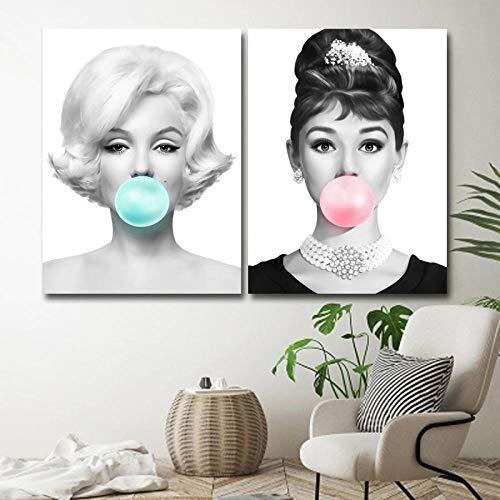 WTYBGDAN Moda Marilyn Monroe Audrey Hepburn Globo Póster e Impresiones Lienzo Cuadros de Pintura para Sala de Estar Decoración del hogar Arte de la Pared   45x60cmx2Pcs / Sin Marco