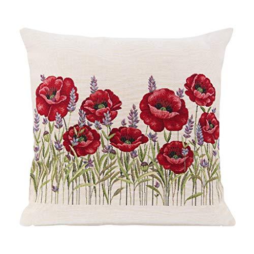IVON - Federa per cuscino deluxe, 18 x 18 cm, motivo papaveri decorativi, in tessuto jacquard, perfetta come cuscini esterni e cuscini per divano