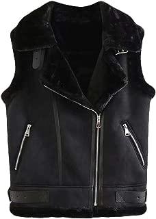 UUYUK Women Vintage Faux Suede Sleeveless Sherpa Lapel Waistcoat Jacket Vest