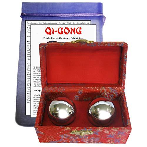 3-tlg Qi Qui Gong Kugel PAAR Meridian Massage REFLEXZONEN Klangkugeln - Energie - Harmonie - Meditation - Entspannung - Anti-Stress…Sofort spürbar - Silber 3,5 cm für Frauen Hände. 82370-SI35