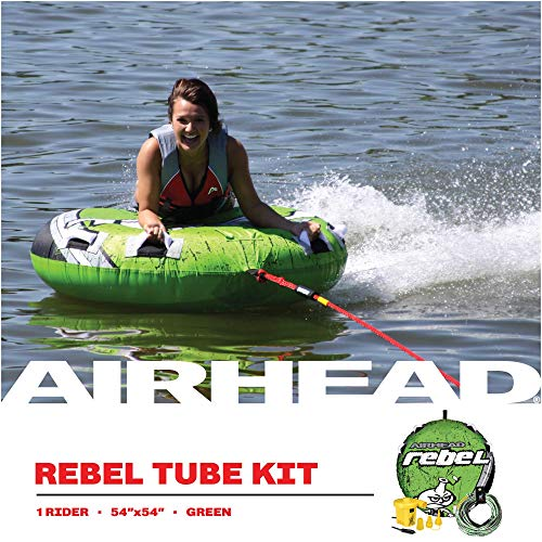 Product Image 4: Airhead Rebel Kit | 1 Rider Towable Tube w/Rope & Pump, Multi, One Size (AHRE-12)