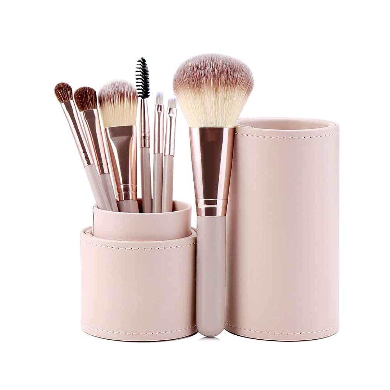 喉が渇いた収入簡略化するQiyuezhuangshi001 化粧ブラシ、7化粧ブラシセット、初心者用プロメイクアップキット、ブラシチューブ付き、持ち運びが簡単,人間工学に基づいたデザイン (Color : Pink)