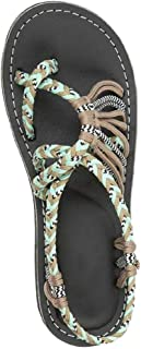 JJLIKER Women Maternity Comfort Flat Sandals, Braided Strappy Flip Flop Shoes Anti-Slip Beach Slippers Gladiator