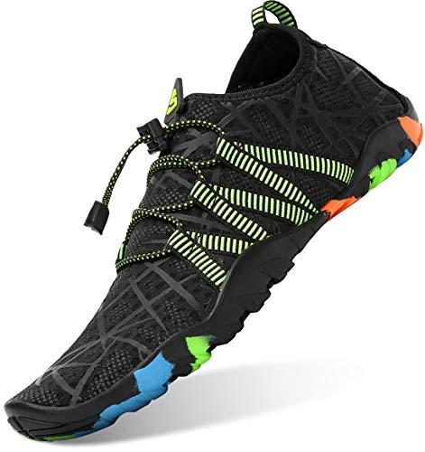 Unisex Zapatos de Agua Antideslizante Secado Rápido Natación Playa Surf Escarpines para Hombre Mujer Negro 42