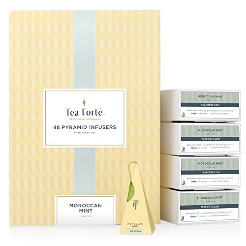 Tea Forte Moroccan Mint Green Tea Event Box Bulk Pack, 48 Handcrafted Pyramid Tea Infusers