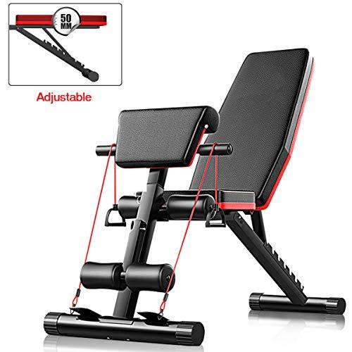 AJUMKER Banc de musculation réglable et pliable 4 en 1 pour entraînement à domicile, gym,...