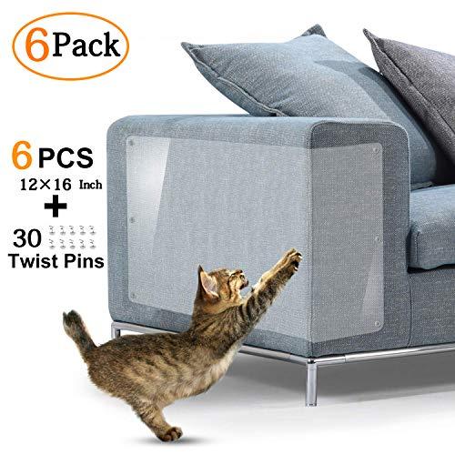 KTL - Protezione per mobili per gatti, autoadesiva, antigraffio, con perni, protezione antigraffio per divano, tavolo e divano, dimensioni: 40,6 x 30,5 cm, confezione da 6