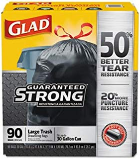 GLAD Drawstring Large Trash Bags, 30 X 33, 30gal, 1.05mil, Black, 90/carton