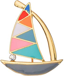 SKZKK Fashion Small Sailboat Enamel Lapel Pin Colourful Broaches and Pins for Women Jewelry Women's Accessories for Women Simple and Elegant Breastpin