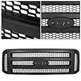ECOTRIC New Front Grille Grill Compatible with 1999 2000 2001 2002 2003 2004 F250 F350 SUPER DUTY - Black Grille