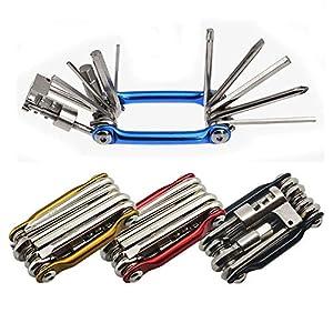 Senven® 11 en 1 Multifunción Bicicleta Reparacion Herramientas, Multiusos Bici Herramientas, Mini Plegables Herramientas, Mantenimiento Herramientas Kit –– Azul