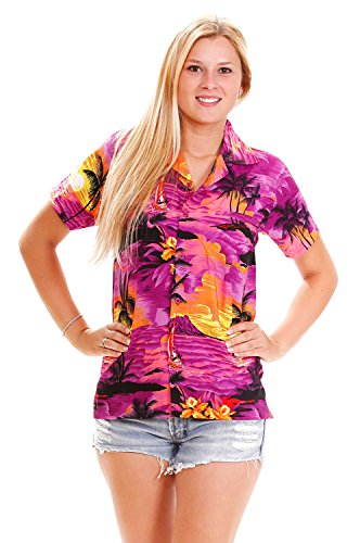 V.H.O. Funky Hawaiian Blouse, Surf, Purple, L