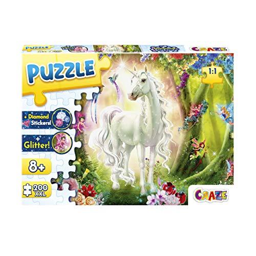 CRAZE Magic Forest 200+ Teile mit Glitzerdruck und Diamanten Einhorn-Puzzle für Kinder ab 8 Jahren, 30257, Glitzereffekte + Aufkleber