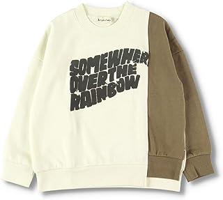 [ブランシェス] フロッキープリント トレーナー 男の子 キッズ ボーイズ ロゴ 切り替え 綿 コットン 長袖