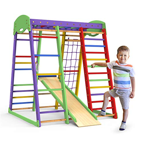 Indoor Playground Toddler Climber Slide – Kids Jungle Gym Playset – Activity Toddler Climber Structure – Play Gym Swedish Ladder - Climbing Play Structure Set – Adventure Dome Slide set – Akvarelka
