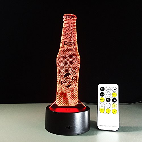 3D Optische Illusions Lampen Bierflasche LED 7 Farben Touch-Schalter Ändern Nachtlicht Mit Fernbedienung und USB-Kabel Für Schlafzimmer Home Decoration