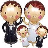 Cymeosh 4 globos de novios para novios, globos de helio, Mr y Mrs, globos para decoración de bodas, bodas, bodas, novios, figuras para compromiso, San Valentín, decoración de bodas