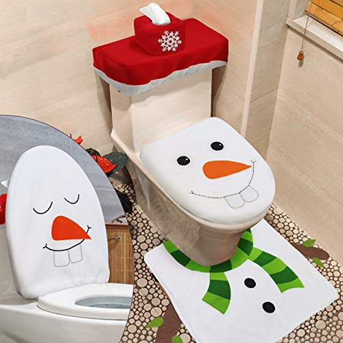 TURNMEON 4 Pieces Christmas 3D Snowman Toilet Seat Cover Christmas Decor, Double Sided Funny Christmas Toilet Seat Lid Cover and Thicken Rug Set Christmas Bathroom Decor Home Indoor Xmas Decor(White)