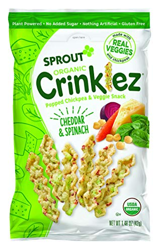 Sprout Organic Baby Food Toddler Popped Veggie Snacks Crinklez, Cheesy Spinach, 1.48 Ounce Bag (Pack of 1)