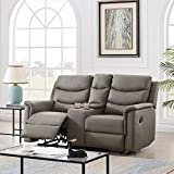 wang JESS Recliner Loveseat with Console Slate,Casual Faux Leather Double Reclining Sofa Bed Middle Backrest of 2-Seater with Cup Holder,Classic PU Grey Theater Seating for Living Room Bedroom