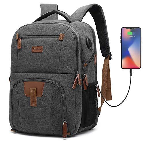 Srotek 17,3 Zoll Laptop Rucksack Schulrucksack Canvas Laptoprucksack Business Backpack Daypack Reiserucksack mit USB-Ladeanschluss Große Kapazität für Laptop/Notebook