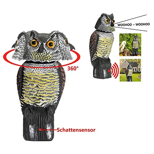 Owl Decoy 360 Rotate Head to Scare Birds, Scarecrow Owl Decoy Statue Realistic Scary Sounds & Shadow Fake Owl Outdoor for Patio Yard Garden Protector (As Shown, one Size)