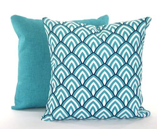 Ad4ssdu4 Lot de 2 housses de coussin d'extérieur Bleu marine, bleu turquoise, blanc, Lalo Jackson, patio, Sunroom 45 x 45 cm