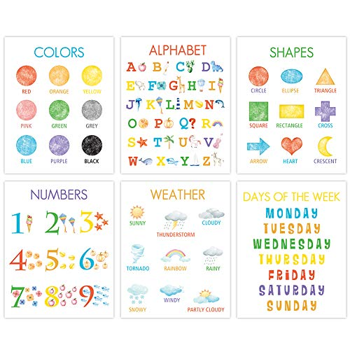 """Colorful Kid Educational Art Print, Cute Numbers, Alphabet, Weather Wall Art Poster, Set Of 6(8""""X10"""", Unframed), Watercolor Early Learning Canvas Painting Poster For Classroom, Nursery, Playroom Decor"""