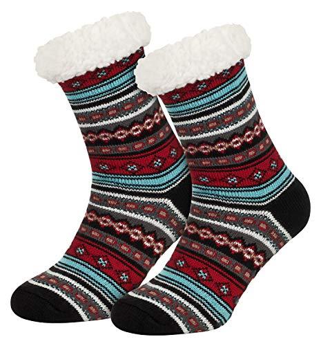 Piarini 1 Paar Kuschelsocken mit ABS Sohle - warme Damen Socken Hüttensocken - Wintersocken mit Anti Rutsch Noppen - Ethno- Schwarz (One-Size)