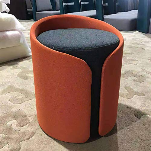 WZR Moderno Tela Ottoman Sofá Taburete,Suave Tapizado Puff Taburete Casa Salón Dormitorio Mesa Vestir Pouffe Naranja