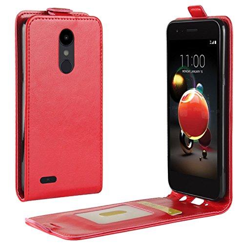 HualuBro LG K9 2018 Hülle, Leder Brieftasche Etui LederHülle Tasche Schutzhülle HandyHülle [Magnetic Closure] Leather Wallet Flip Hülle Cover für LG K9 / LG K8 2018 (Rot)