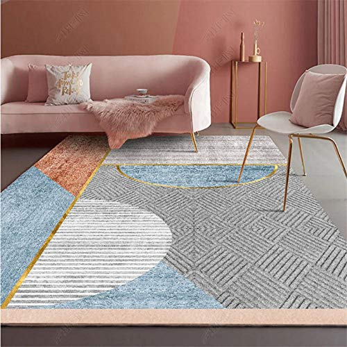 TANGYUAN rugs Living Room Large Small Rectangular Size - Coffee table carpet creative modern simple contemporary fashion fresh splicing thick short pile-160x230cm